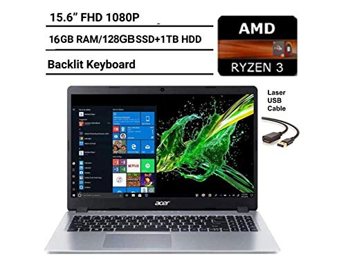 2020 Newest Acer Aspire 5 15.6″ FHD 1080P Laptop Computer| AMD Ryzen 3 3200U up to 3.5 GHz(Beat i5-7200u)| 16GB RAM| 128GB SSD+1TB HDD| Backlit KB| WiFi| Bluetooth| HDMI| Windows 10| Laser USB Cable