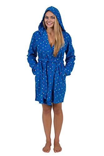 Blue Hooded Robe (Womens Short Hoodie Robe Ladies Hooded Robe Hoody Robe ALL SIZES (Large, Blue Polka Dot))