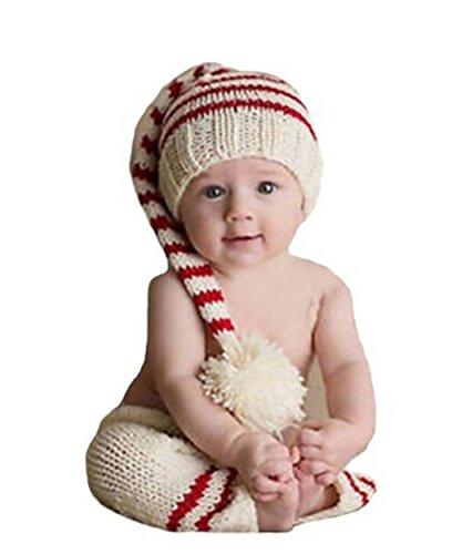 Ufraky Newborn Baby Handmade Crochet Knitted Stripe Hat Pants Outfits Photo Props