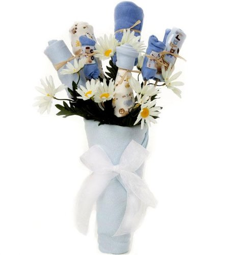 Unique Baby Clothing Bouquet - BLUE for BOYS - More Practical for New Moms than Real Flowers! - Great Shower Gift Idea