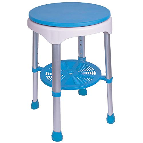 Carex EZ Swivel Shower Stool - Bathroom Stool and Shower Seat With Sturdy Frame - Rotates 360 Degrees