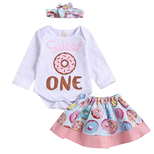 Infant Baby Girl Summer Outfits Sweet One Birthday Romper Top Donut Tutu Skirt Headband 3PCS Clothing Set (Pink Donut & Long Sleeve, 6-12 Months)