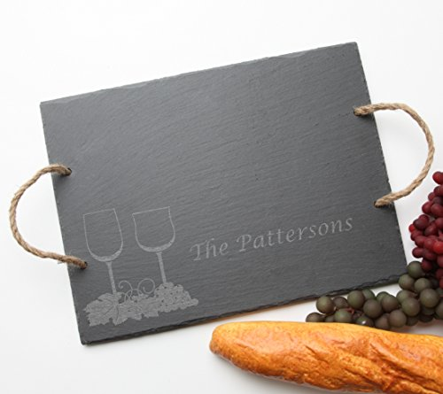 Personalized Slate Cheese Board, Custom Engraved Slate Serving Tray Wine Glass Design 5-Personalized Housewarming Gift, Host or Hostess Gift, Realtor Gift ()