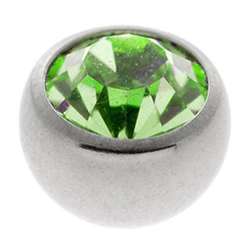Steel Threaded Jewelled Balls - Light Green 1.2 x 2.5mm ()