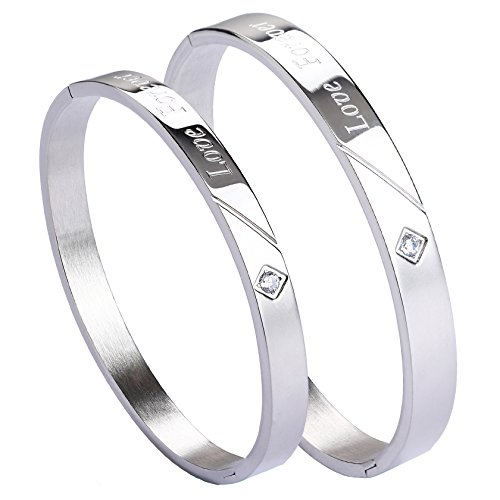 MILAKOO 2 Pcs Couples Bracelets Stainless Steel Bangle Cuff Bracelet for Women Men Girls Boys by MILAKOO