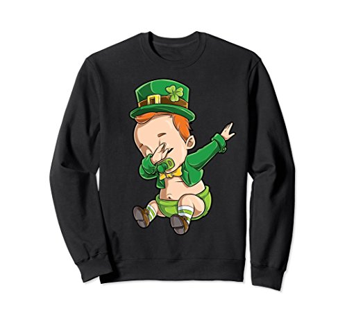 Unisex St Patricks Day Pregnancy Sweatshirt Dabbing Baby Leprechaun Large (Baby Adult Sweatshirt)