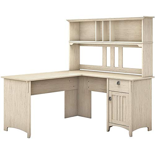 Bush Furniture Salinas 60W L Shaped Desk with Hutch in Antique White (Antique Computer Desks)
