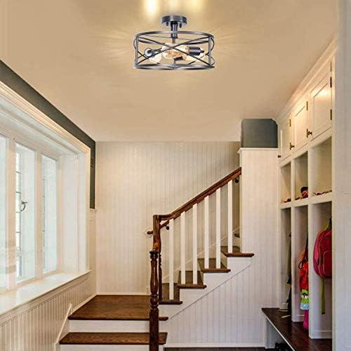 OUKANING Vintage Deckenleuchten Schwarz Semi-Flush Mount Pendelleuchte Retro E27 Lampenfassung Leuchtmittel Metall Lampenschirm Deckenlampe