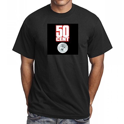 50 Cent = Clothing - 50 Cent Power of The Dollar T-Shirt Get Rich Hip Hop T-Shirt Rap (2XL, Black)
