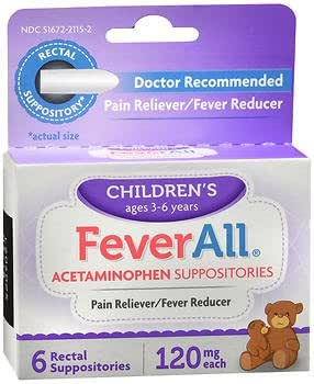 FeverAll Children's Acetaminophen Suppositories, 120 mg - 6 ea., Pack of 3