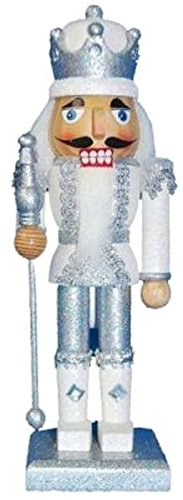 - Christmas Holiday Wooden Nutcracker Figure Soldier King with Traditional Silver and White Glitter Uniform Jacket and Crown with Silver Tassels, Rhinestone Sparkle and Braided Details, Large, 10 Inch