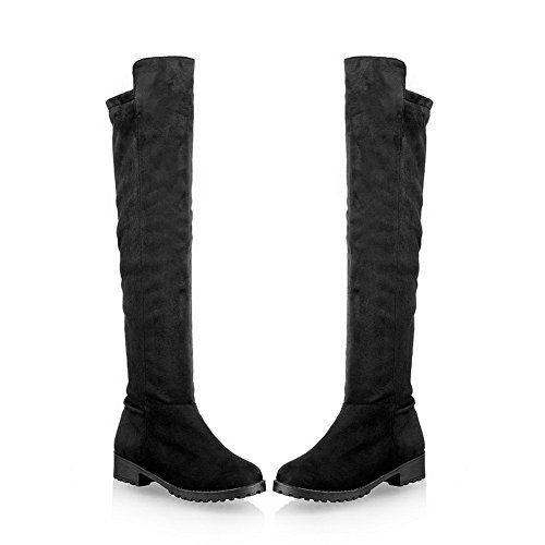 with US Low Short Womens Heels Platform M Round Black 5 AmoonyFashion Plush Frosted Toe B PU Solid Close 4 Boots cH1qdS78I