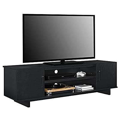 """Ameriwood Home Southlander TV Stand, Black Oak - Update your room without taking up a lot of space with the Ameriwood Home Southlander TV Stand for TVs up to 65"""" wide or 120 lbs. The black oak woodgrain finish on the laminated particleboard pairs with the black hardware and H panel feet for a classic feel Open and concealed storage offers ample space to organize your video components and and features wire management holes to make plugging in devices simple. Store DVDs and games behind the 2 doors that each conceal 1 adjustable and 1 fixed shelf - tv-stands, living-room-furniture, living-room - 41km 9gooML. SS400  -"""