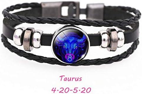 12 Constellation Zodiac Sign Black Buckle Leather Bracelet Cancer Leo Virgo Libra Woven Glass Dome Jewelry Punk Men Bracelet 21cm