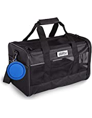 Edenpetz Soft Pet Carrier for Medium Cats and Dogs with 3 Doors and Shoulder Strap, Portable Folding Puppy Carrier Airline Approved with Washable Removable Mat (Urban black)