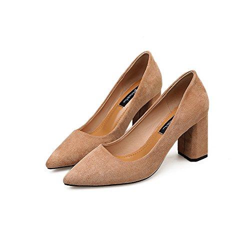 High con Beige gruesos 39 Punta superficial satinado Wild boca zapatos Heel con 7tFnZnOwq