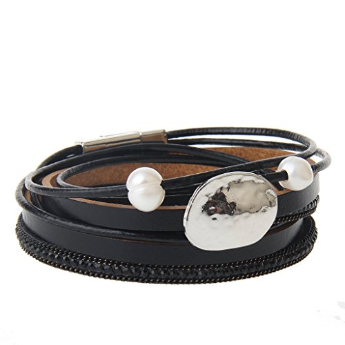 - Women Womens Men Mens Multi-layer Pearl Rope Chain Braid Leather Bracelet Charm Cuff Wrap Bangle Magnetic Buckle Clasp Handmade Wristband Bracelets