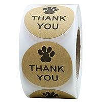"Hybsk Kraft Paw Print Thank You Stickers Dog Paw Print 1.5"" Round Thank You Labels"