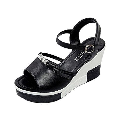 Jamicy Women Girls Fashion Summer Peep-toe High Shoes Roman Sandals Flip Flops Black Tcb2D1d