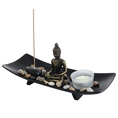 MyGift Zen Garden Buddha Statue with Glass Tealight Candle & Incense Burner Holder, Black]()