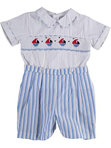 - Carriage Boutique Boys Shorts Set - Blue Nautical