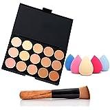 NYKKOLA Fashion Women Professional 15 Color Makeup Cosmetic Contour Concealer Palette Make Up+Sponge+Concealer Brush