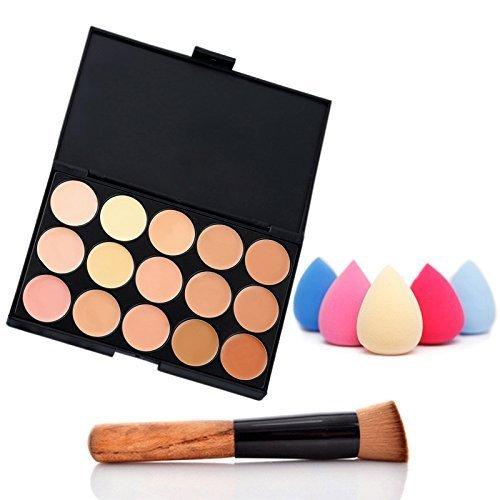 (NYKKOLA Fashion Women Professional 15 Color Makeup Cosmetic Contour Concealer Palette Make Up+Sponge+Concealer)