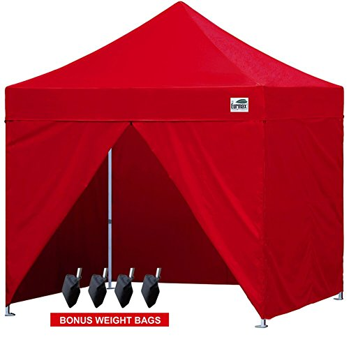 Eurmax 10 x 10 Pop up Canopy Party Tent Commercial Gazebo With 4 Sidewalls and Carry Bag (Red)
