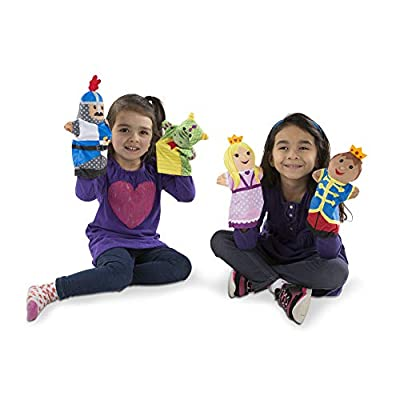 Melissa & Doug Adventure Hand Puppets (Set of 2, 4 puppets in each) - Bold Buddies and Palace Pals: Toys & Games