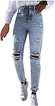 UTPO Women Ripped Slim Fit Jeans High Waisted Boyfriend Distressed Ankle Denim Pants Stretch Shaping Skinny Je