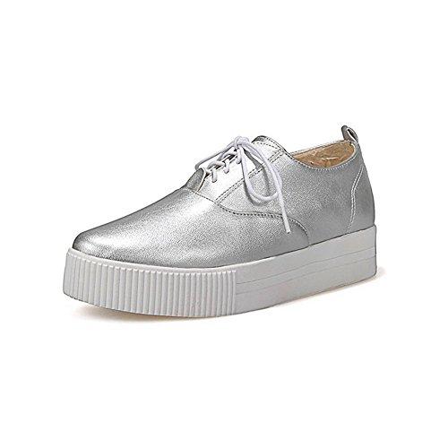 Zapatos para Redondos cerrada VogueZone009 Zapatos Plateado cordones mujer con de tacón bajo con PU punta Bombas BYwwxzdqC