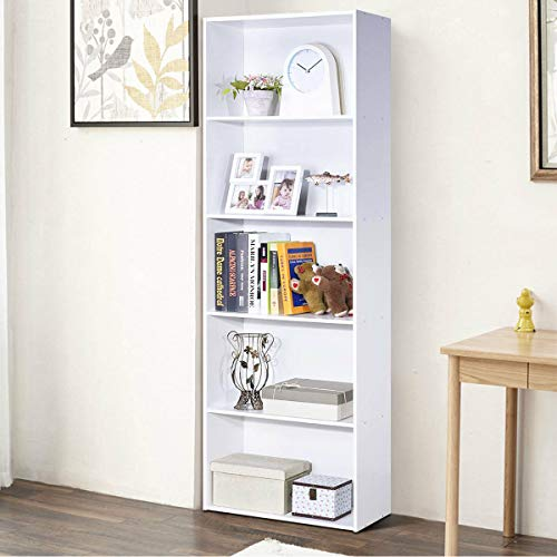 Tangkula 5-Shelf Bookcase, 23.5 L x 9.5 W x 67 H, Multi-Functional Wood Storage Display Open Bookshelf for Home Office White