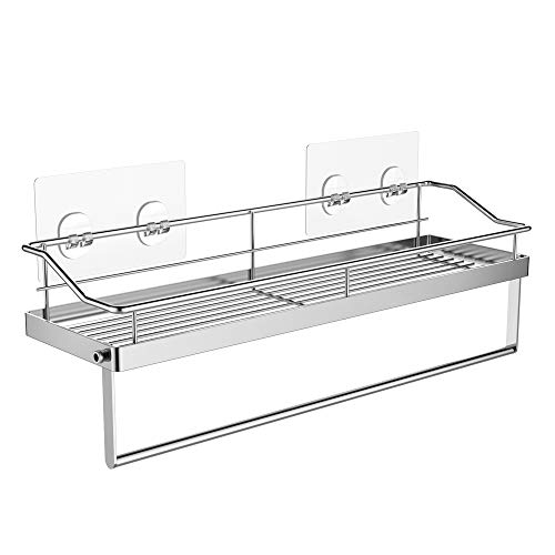 Orimade Adhesive Bathroom Shelf With Tower Bar Rail Rack Shower Caddy Kitchen Toilet Storage Organizer Wall Mounted Stainless Steel - No Drilling by Orimade