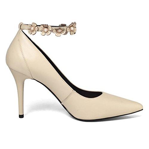 Frauen Geschlossene Zehe Thin High Heels Schuhe Knöchelriemen Schnallen Blumenpumpen Hof Schuhe Hochzeit Schuhe (Beige Schwarz) Beige