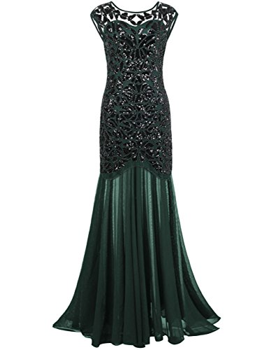 kayamiya Women's 20s Beaded Floral Maxi Long Gatsby Flapper Prom Dress 2XL Green]()