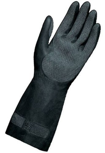 MAPA Professional MAPA Technic NS-401 Neoprene and Natural Latex Glove, Chemical Resistant, 0.022 Thickness, 12-1/2 Length, Size 9, Black (Bag of 12 Pairs)