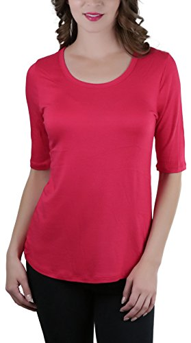 ToBeInStyle Women's Classic Loose Knit Tee (Medium, Red)