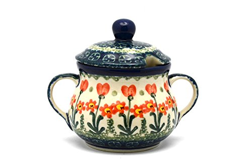 Polish Pottery Sugar Bowl - Peach Spring Daisy