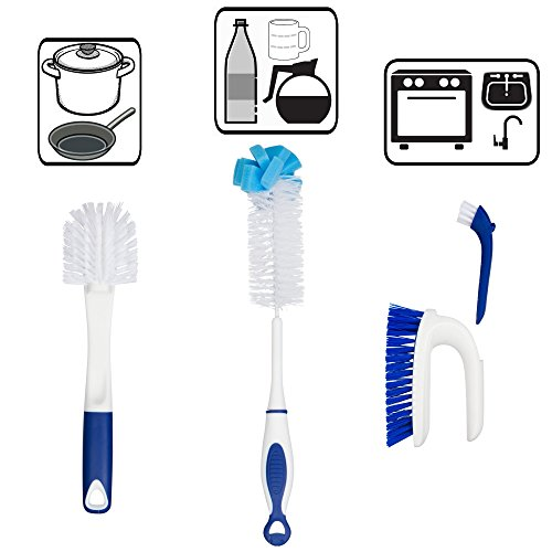 ls Set - 3 Brushes Total - Bottle Brush - Pots and Pans Scrub and Scraper - 2 in 1 Sink and Surface Scrub Brush That Contains A Mini Detail Brush (Scrub Sink Faucet)