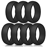 ThunderFit Silicone Rings, 7 Pack/Single Ring Wedding Bands for Men - 8.7 mm Wide (7 Black Rings, 13.5-14 (23mm))