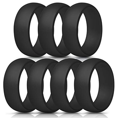 ThunderFit Silicone Rings, 7 Pack/Single Ring Wedding Bands for Men - 8.7 mm Wide (7 Black Rings, 11.5-12 (21.3mm))