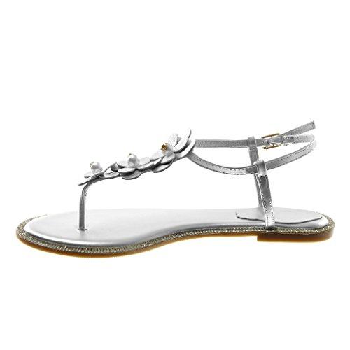 Caviglia Blocco Argento Infradito a Sandali 1 Cinturino Tacco cm Perla Strass Angkorly con Fiori alla Moda Donna Scarpe Cinturino 1fZw0Z