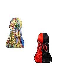 Hip-hop Two Tone Men Silky Durag Cap(2pcs) Long Tail Chemo 360 Waves Du-rag Hat