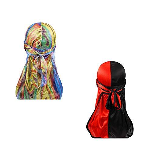Hip-hop Two Tone Men Silky Durag Cap(2pcs) Long Tail Chemo 360 Waves Du-rag Hat (Rainbow+Red)