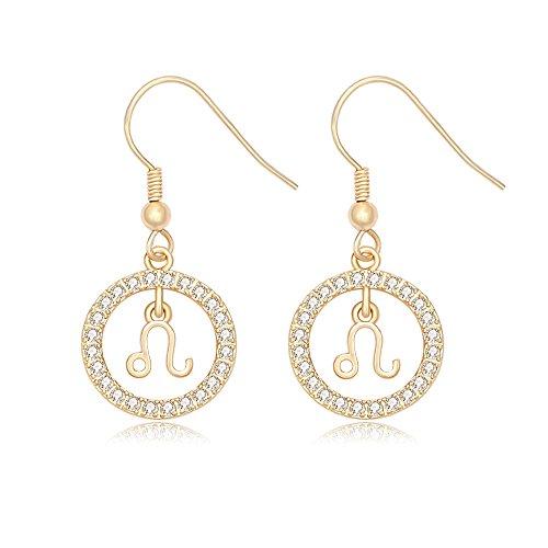 NOUMANDA Gold Plated Star Sign Rhinestone Crystal Dangle Drop Earrings12 Constellations Zodiac Horoscope Astrology Disc Jewelry Accessories (Leo)