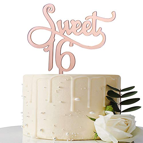 Mirror Rose Gold Sweet 16 Cake Topper - 16th Birthday Cake Topper - Girl's 16th Birthday Party Decorations Supplies