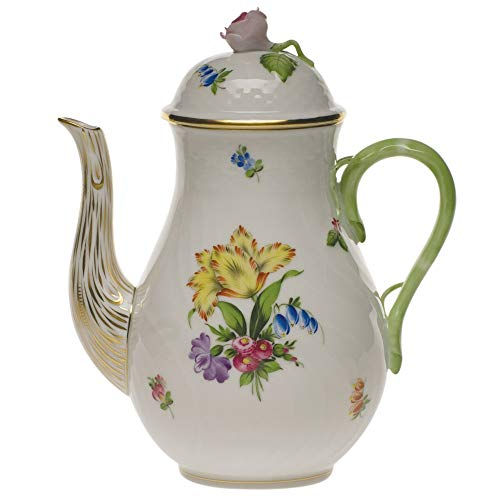 - Herend Printemps Porcelain Coffee Pot With Rose