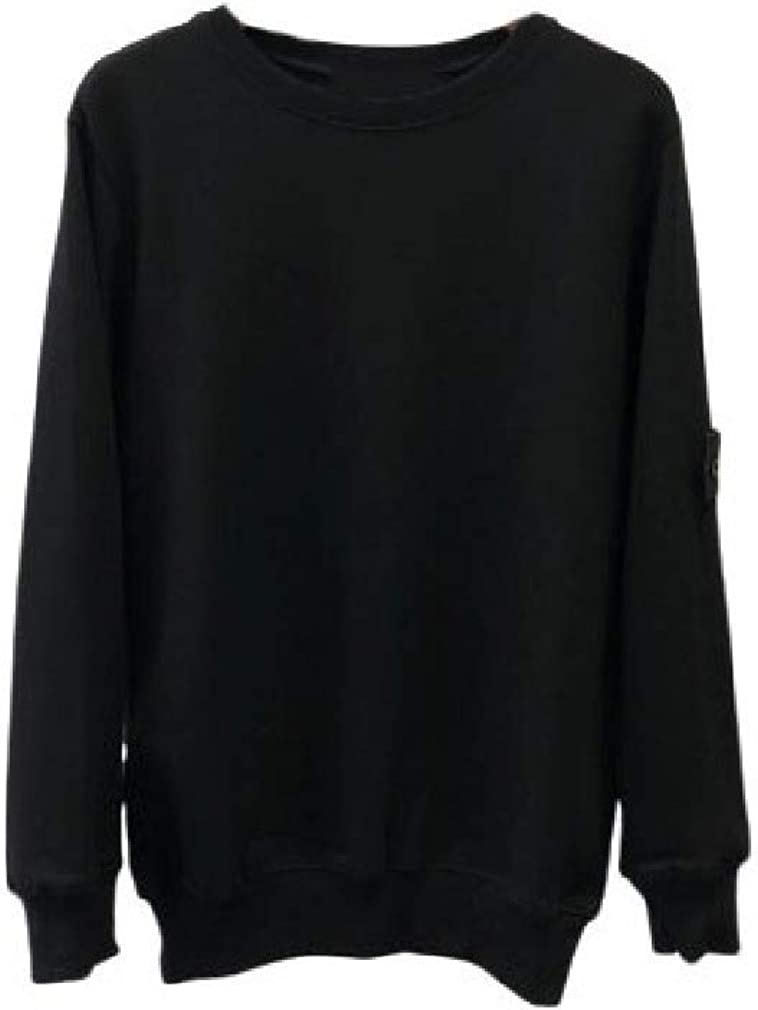 Romantc Mens Casual Long Sleeve Regular Crew-Neck Solid Loose Pullover Shirts Top