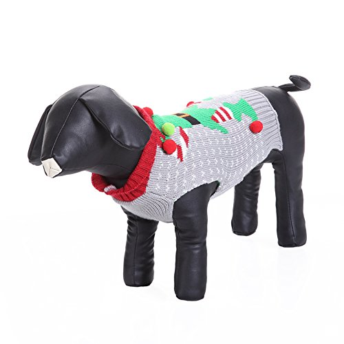 ANIAC Cute Dog Puppy 3D Joker Clown Winter Holiday Season Costume Warm Sweater Pet Clothes (M)]()