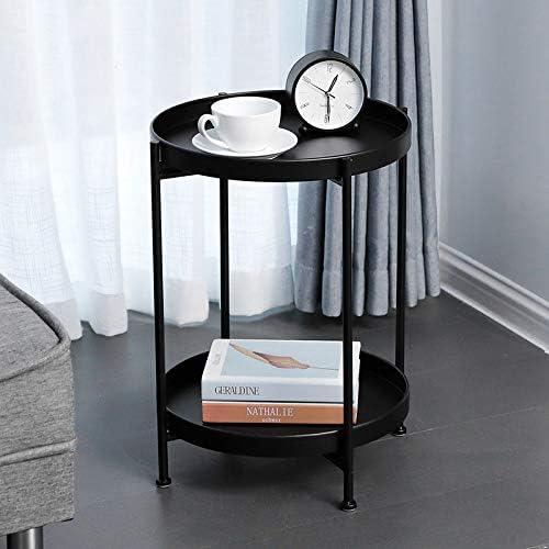 100% Authentiek CAGYMJ Bijzettafel, softafel, eenvoudige koffietafel, eenvoudig te monteren, opbergruimte voor woonkamertafel, dubbellaags opbergkast Zwart etBdrqu